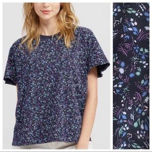 Anna Sui X Uniqlo Navy Blue Floral Tee Large NWT